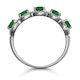 Emerald and Diamond Halo 5 Stone Asteria Ring in 18K White Gold - image 3