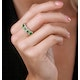 Emerald and Diamond Halo 5 Stone Asteria Ring in 18K Gold - image 2