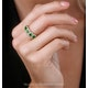 Emerald and Diamond Halo 5 Stone Asteria Ring in 18K White Gold - image 2