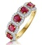 Ruby and Diamond Halo 5 Stone Asteria Ring in 18K Gold - image 1