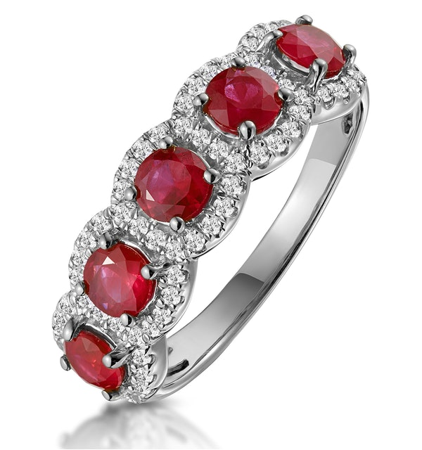 Ruby and Diamond Halo 5 Stone Asteria Ring in 18K White Gold - image 1