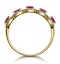 Ruby and Diamond Halo 5 Stone Asteria Ring in 18K Gold - image 3