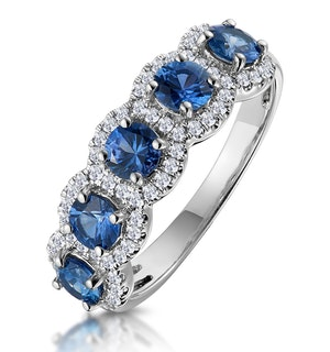 Sapphire and Diamond Halo 5 Stone Asteria Ring in 18K White Gold