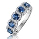 Sapphire and Diamond Halo 5 Stone Asteria Ring in 18K White Gold - image 1