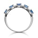 Sapphire and Diamond Halo 5 Stone Asteria Ring in 18K White Gold - image 3