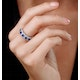 Sapphire and Diamond Halo 5 Stone Asteria Ring in 18K White Gold - image 2