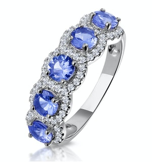 1.20ct Tanzanite Asteria Eternity Halo Diamond Ring in 18K White Gold