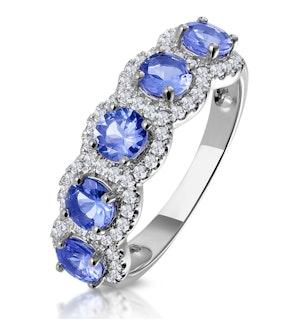 1.20ct Tanzanite Asteria Eternity Halo Diamond Ring in 18K White Gold