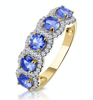 1.20ct Tanzanite Asteria Eternity Halo Diamond Ring in 18K Gold