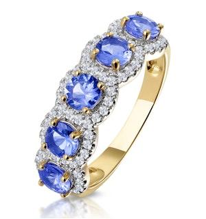1.20ct Tanzanite Asteria Eternity Halo Diamond Ring in 18K Gold