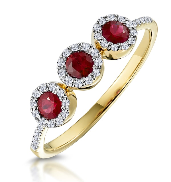 d488ae125512a Ruby and Diamond Halo Trilogy Ring 18K Gold - Asteria Collection
