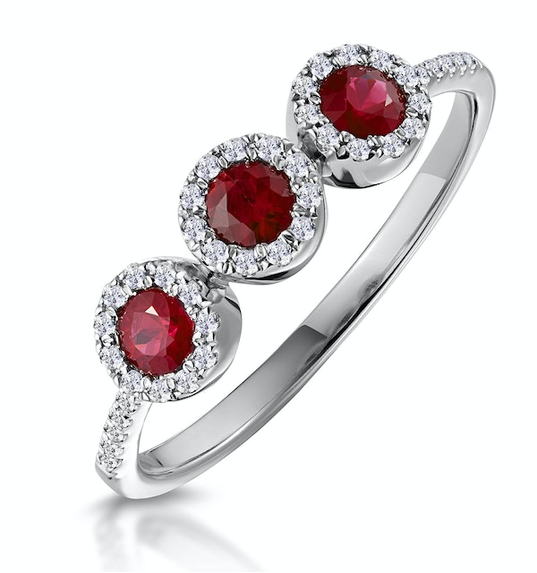 Ruby and Diamond Halo Trilogy Asteria Ring in 18K White Gold - image 1