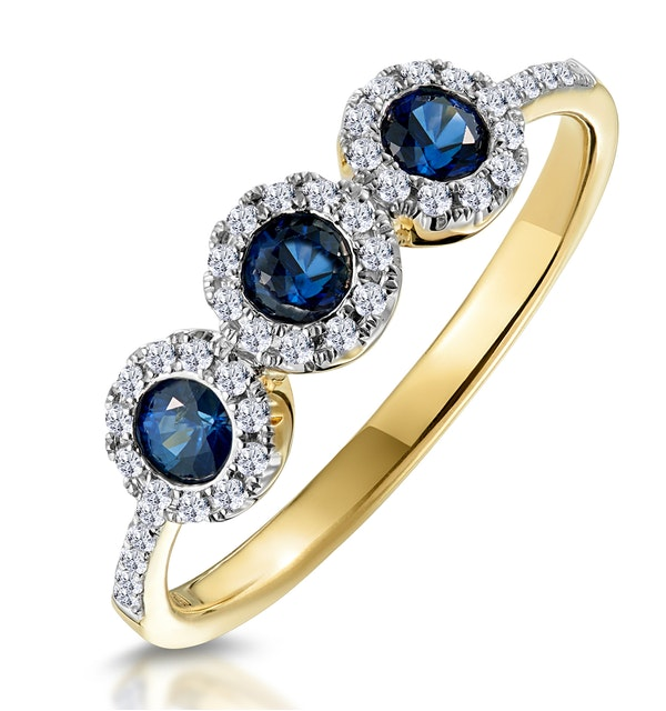 Sapphire and Diamond Halo Trilogy Ring 18K Gold - Asteria Collection - image 1