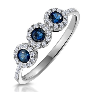Sapphire and Lab Diamond Halo Trilogy Ring 9K White Gold - Asteria