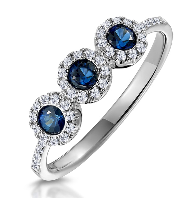 Sapphire and Diamond Halo Trilogy Asteria Ring in 18K White Gold - image 1