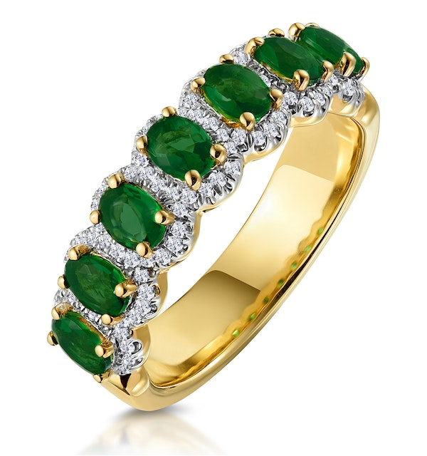 Emerald and Diamond Halo Eternity Ring 18K Gold - Asteria Collection - image 1