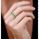 Emerald and Diamond Halo Eternity Ring 18K Gold - Asteria Collection - image 2