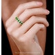 Emerald and Diamond Halo Eternity Ring 18KW Gold Asteria Collection - image 2