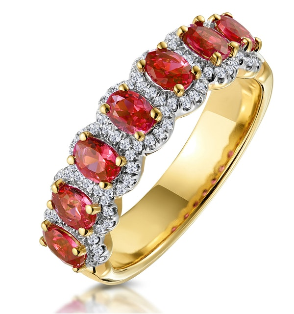 5041a86944edc Ruby and Diamond Halo Eternity Ring in 18K Gold - Asteria Collection