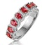 Ruby and Diamond Halo Eternity Ring in 18KW Gold - Asteria Collection - image 1