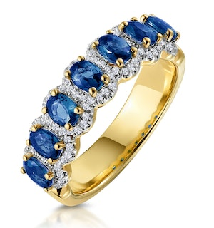 Sapphire and Diamond Halo Eternity Ring 18K Gold - Asteria Collection