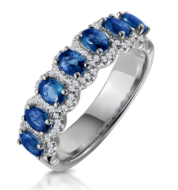 Sapphire and Diamond Halo Asteria Eternity Ring in 18KW Gold - image 1