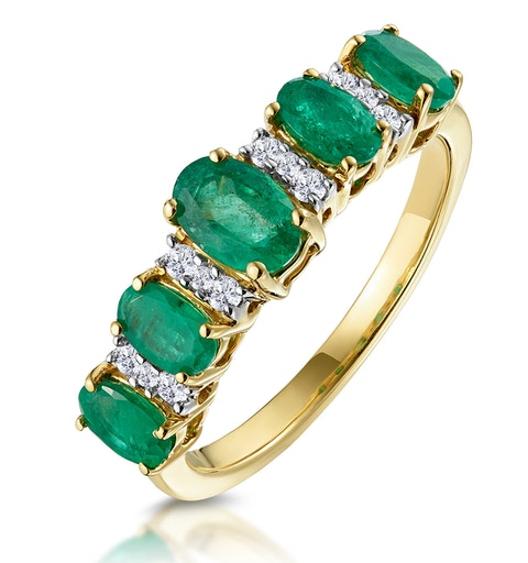 1.30ct Emerald and Diamond Eternity Ring 18K Gold - Asteria Collection - image 1