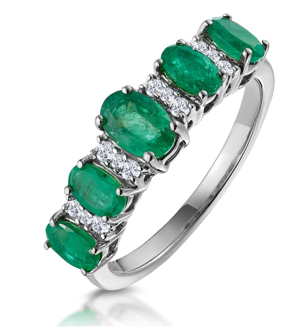 Emerald and Diamond Eternity Ring 18K White Gold - Asteria Collection - image 1