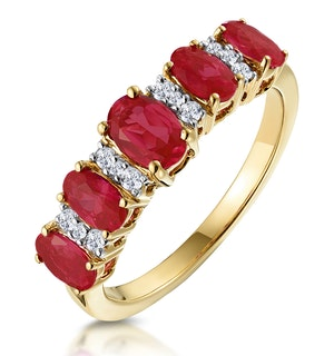 1.85ct Ruby and Diamond Eternity Ring in 18K Gold - Asteria Collection
