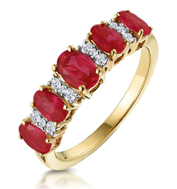 1.85ct Ruby and Diamond Eternity Ring in 18K Gold - Asteria Collection - image 1
