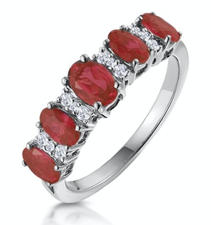 1.85ct Ruby and Lab Diamond Eternity Ring in 9K White  Gold - Asteria