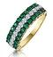 Emerald and Lab Diamond Triple Row Asteria Eternity Ring in 9K Gold - image 1