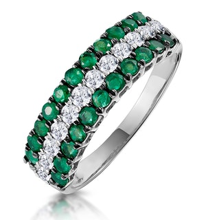Emerald and Diamond Triple Row Asteria Eternity Ring in 18K W Gold
