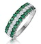 Emerald and Diamond Triple Row Asteria Eternity Ring in 18K W Gold - image 1
