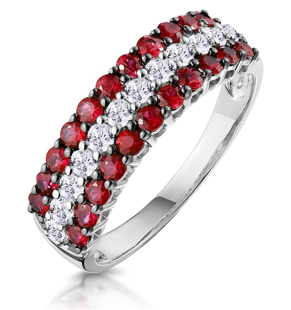 Ruby and Diamond Triple Row Asteria Eternity Ring in 18K White Gold - image 1