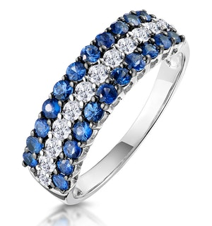 Sapphire and Diamond Triple Row Asteria Eternity Ring 18K White Gold