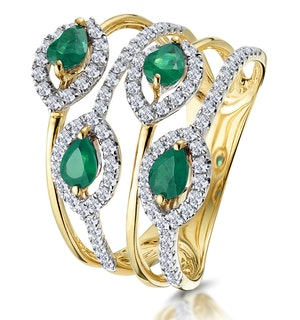 Emerald and Diamond Halo Statement Ring 18K Gold - Asteria Collection