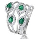 Emerald and Diamond Halo Statement Ring 18KW Gold - Asteria Collection - image 1