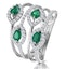 Emerald and Diamond Halo Statement Ring in 18K White Gold - Size N - image 1