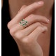 Emerald and Diamond Halo Statement Ring 18K Gold - Asteria Collection - image 2