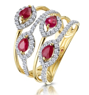 Ruby and Diamond Halo Statement Ring in 18K Gold - Asteria Collection