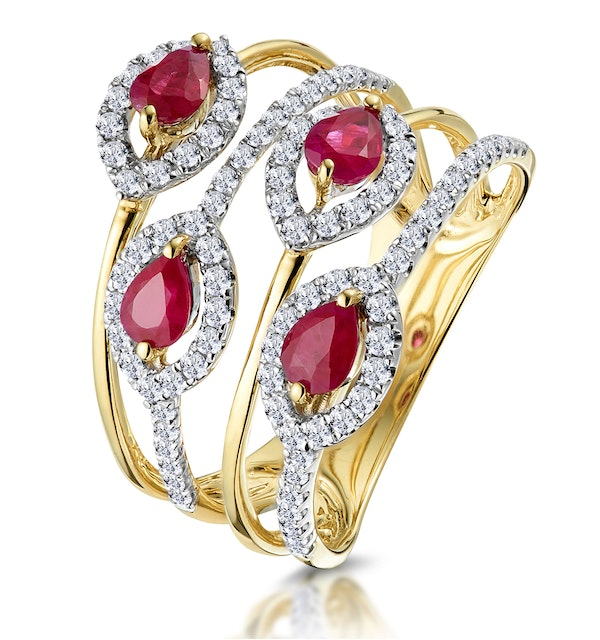 Ruby and Diamond Halo Statement Ring in 18K Gold - Asteria Collection - image 1