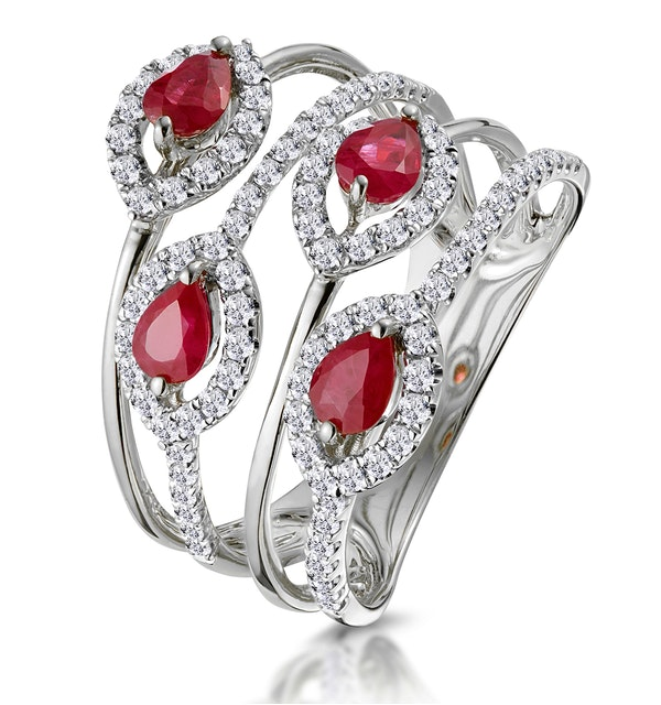 Ruby and Diamond Halo Statement Ring in 18KW Gold - Asteria Collection - image 1