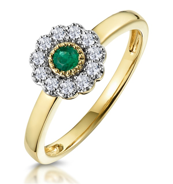 Emerald and Diamond Halo Ring in 18K Gold - Asteria Collection - image 1