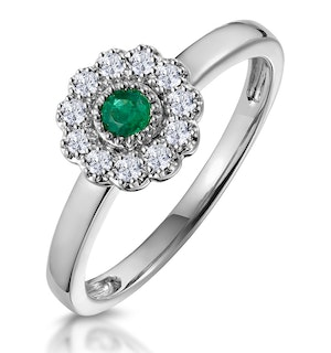 Emerald and Diamond Halo Ring in 18K White Gold - Asteria Collection