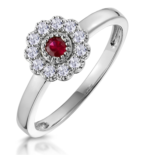 Ruby and Diamond Halo Ring in 18K White Gold - Asteria Collection - image 1