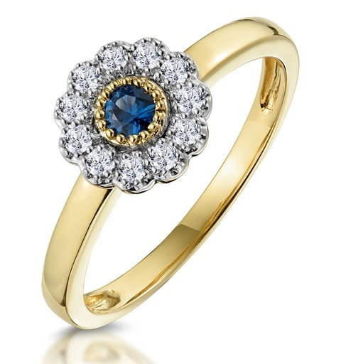 Sapphire and Diamond Halo Ring in 18K Gold - Asteria Collection - image 1