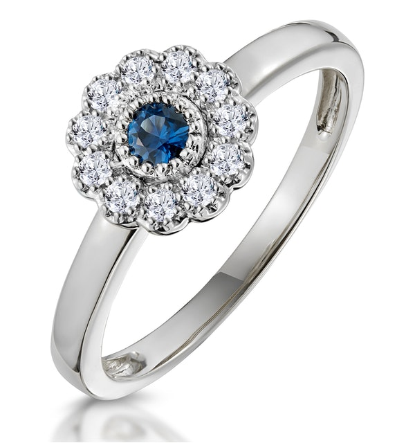 Sapphire and Diamond Halo Ring in 18K White Gold - Asteria Collection - image 1