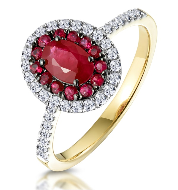 Ruby and Diamond Double Halo Ring in 18K Gold - Asteria Collection - image 1