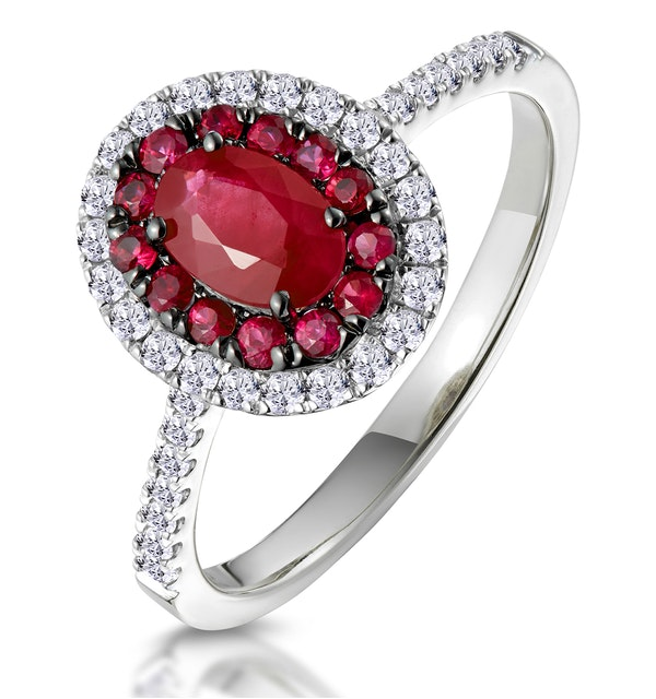 Ruby and Diamond Double Halo Ring 18K White Gold - Asteria Collection - image 1